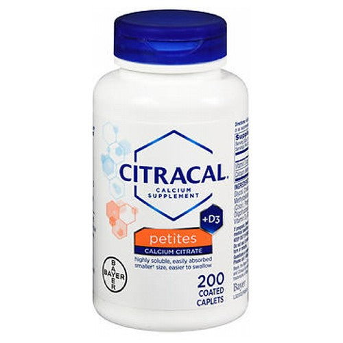 Citracal Petites Calcium Citrate Plus D3 Tablets 200 tabs by Citracal Absorbed With or Without Food Calcium SupplementEasier to SwallowNew Look Same Great Product!Smaller? Size