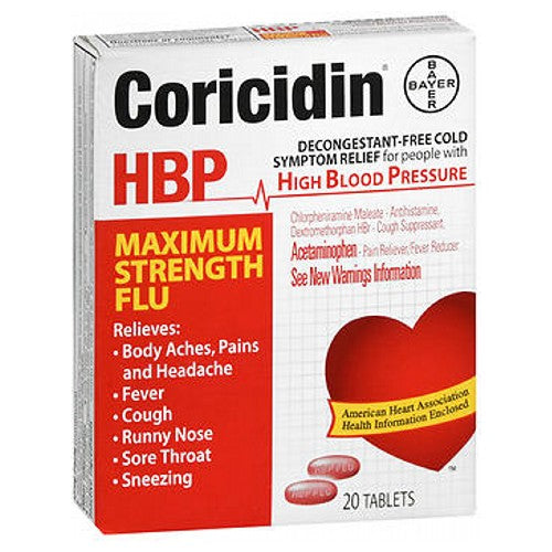 Coricidin Hbp Flu Tablets Maximum Strength 20 each by Coricidin Hbp Decongestant Free Cold Relief For People With High Blood PressureRelieves Body Aches, Pains and HeadacheFeverCoughRunny Nose