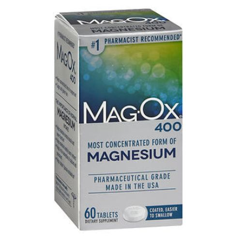 Mag-Ox 400 Tablets 60 tabs by Magox Doctor recommended magnesium supplement. Most concentrated magnesium.* Sugar and gluten free. Symptoms of a magnesium deficiency: leg cramps, migraines, fatigue. The importance of normal magnesium intake: Essential mineral needed by every cell in your body.* Helps maintain normal muscle and nerve function.* Helps keep heart rhythm steady and maintain normal blood pressure.* Helps in the absorption of calcium and potassium.* Reason for magnesium deficiency: Dietary Intake - Up to 75% of Americans dont get enough magnesium in their diets.* Prescription Drugs - Diuretics, cisplatin, cyclosporine deplete magnesium.* Health Conditions - Pre-diabetes, diabetes, cardiovascular disease, and high blood pressure are commonly associated with a magnesium deficiency.* *These statements have not been evaluated by the Food and Drug Administration. This product is not intended to diagnose, treat, cure or prevent any disease. Just one does delivers over 120% of the Daily Value! Sugar and gluten free.