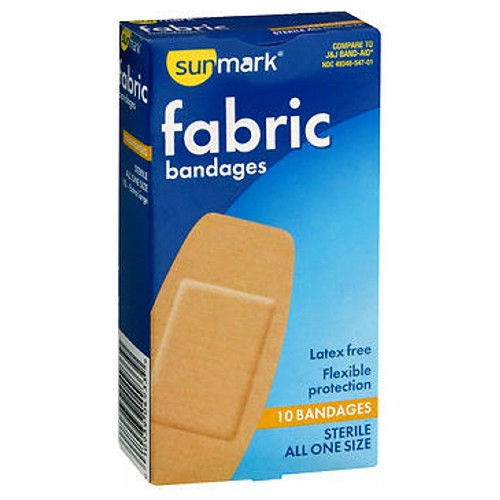 Sunmark Fabric Bandages All One Size Extra Large 10 each by Sunmark