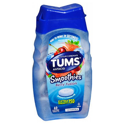 Tums Smoothies Antacid And Calcium Supplement Chewable - 60 tabs