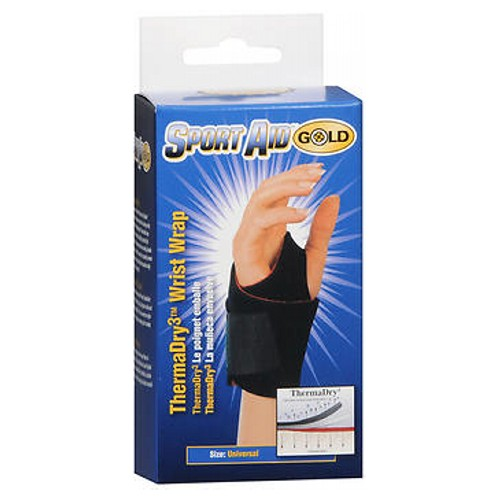 Sport Aid Gold ThermaDry3 Wrist Wrap Black Universal UNIV 1 each by Sport Aid