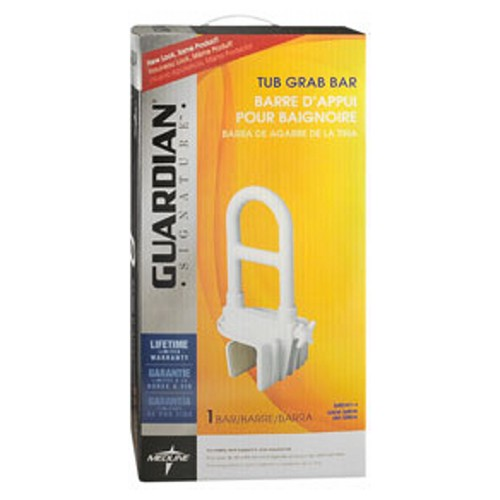Medline Guardian Signature Tub Grab Ba each by Medline For safety and support in and around the tub. From a line of useful products designed to help with the challenges of daily life. Offers valuable capabilities to enhance the safety and comfort of your home. Lightweight plastic design is easy to adjust. Promotes safety around the bathtub. Step-through design provides an unobstructed entry/exit path allowing better hand positioning. Two hand/bi-level handgrip positions offer maximum flexibility and safety. Padded clamps protect tub surface. Attaches securely without tools to standard tubs with walls up to 6.25  . No tools required for installation. Easy to install with enclosed instructions. Supports up to 250 lbs. Latex free.
