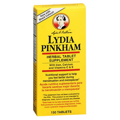 Lydia E Pinkham Herbal Supplement 150 tabs by Lydia Pinkham Nutritional support to help you feel better during menstruation and menopause. Lydia Pinkham Herbal Tablets were first introduced in 1875, and since then have been used by generations of women the world over. The formula was developed by a knowledgeable, caring woman, Lydia Pinkham. It contains 7 natural herbs plus Iron, Calcium, and Vitamins C and E.