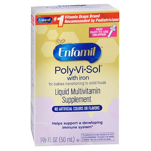 Enfamil Poly-Vi-Sol Multivitamin Supplement Drops With Iron 50 ml by Enfamil Essential Vitamin Drops for Infants and ToddlersBrand Recommended by Doctors