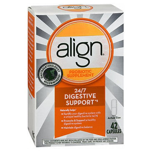 Align Digestive Care Probiotic Supplement 42 caps by Procter & Gamble Why take Align? When taken daily, Align builds and maintains your digestive health with active probiotic bacteria that provides an ongoing natural defense against occasional episodes of digestive upsets.* What are probiotics? Simply put, probiotics are good bacteria essential for many vital body functions, including healthy digestion. What makes Align daily digestive care special? Align is the only supplement with the pure-strain probiotic bacteria Bifantis (Bifidobacterium infantis 35624) to help naturally balance your digestive system.* Bifantis was discovered by gastroenterologists and, when taken daily, will help your body build and maintain a healthy digestive system*. This product does not contain lactose, soy or gluten. *This statement has not been evaluated by the Food and Drug Administration. This product is not intended to diagnose, treat, cure or prevent any disease.