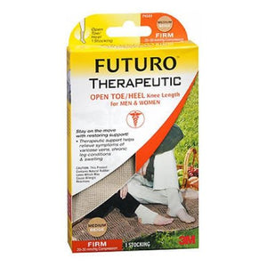 Futuro Therapeutic Open Toe/Heel Knee Length Stocking Beige Firm For Men Women Medium each by 3M