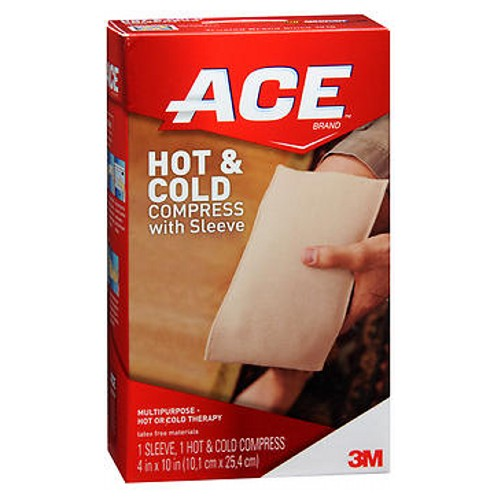 Ace Knitted Cold/Hot Compress Reusable 1 each by Ace Microwavable and reusable. ACE Brand Hot  Cold Compress provides safe and effective hot or cold treatment as well as compression, which are frequently recommended by medical professionals. Cold therapy, immediately following the injury, helps to reduce swelling and relieve pain. Once swelling has subsided, the application of heat will help reduce pain and promote healing. Heat therapy is also ideal for muscle aches, stiffness, tension, cramps and arthritis. A soft outer pouch delivers hot or cold therapy comfortably and conveniently and eliminates the need for a towel or cover. Protection Level: Advanced: Provides moderate support.