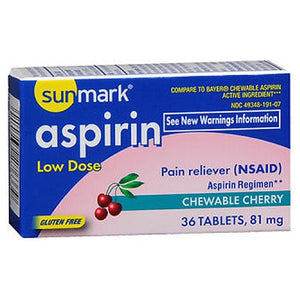Sunmark Aspirin Adult Low Dose Chewable - Cherry 36 tabs