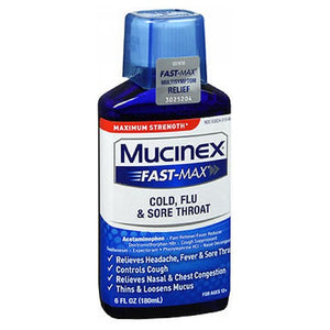 Mucinex Fast-Max Adult Liquid For Cold Flu And Sore Throat - 6 oz
