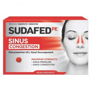 Sudafed Nasal Decongestant Maximum Strength - 24 Tablets - 30mg Each
