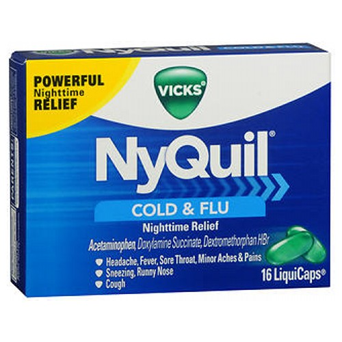 Vicks Nyquil Cold And Flu Nighttime Relief Liquicaps - 16 caps