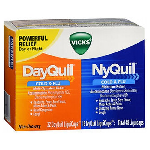 Vicks Dayquil And Nyquil Combo Pack Cold And Flu Relief - 48 caps