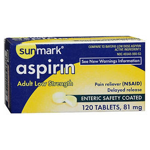 Sunmark Aspirin Adult Low Strength Enteric Safety - 120 tabs