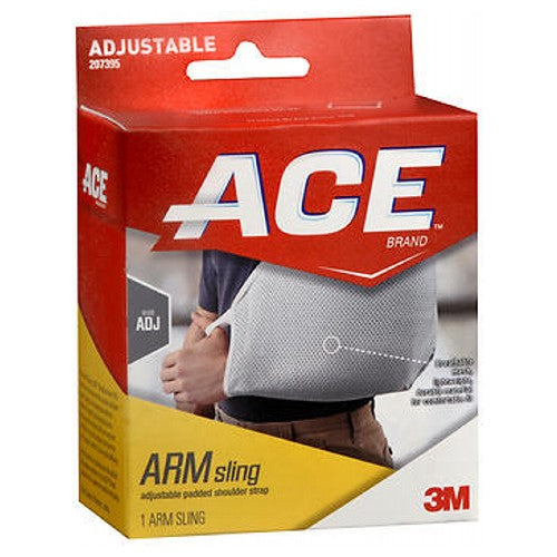Ace Arm Sling 1 each by Ace ACE Brand Arm Sling is designed to provide you with the optimal support you need while assuring proper fit and comfort. Breathable mesh, lightweight durable material for comfortable fit. Buckle closure allows for custom fit using one hand. Thumb loop holds hand in ideal position and helps reduce fatigue. Adjustable padded shoulder strap for comfort that accommodates many sizes. Large envelope design to allow use with cold compress. Latex free. Protection Level: Advanced: Designed to promote moderate support during activities and should be worn as needed.