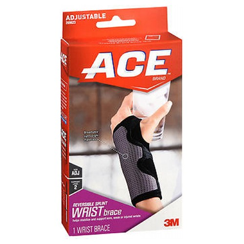 Ace Splint Wrist Brace Reversible One Size Adjustable 1 each by Ace Can be used on either the right or left hand to help provide comfortable, moderate support and compression for injured, weak or post-cast wrists. Low cut, ergonomic shape allows for free hand movement. Adjustable palmar stay helps provide moderate stability. 3 hook and loop fasteners for adjustable fit. Breathable, durable soft and latex free materials. Comfortable all day support. Easy sleeve design for effortless application.