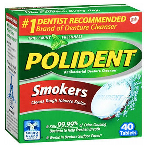 Polident Smokers Denture Cleanser 40 tabs by Polident