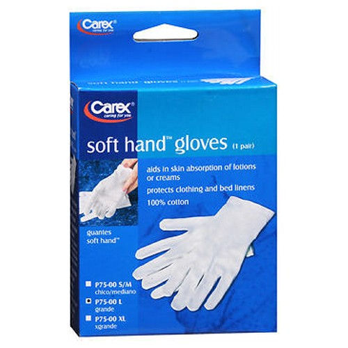Carex Soft Hand Cotton Gloves Large 1 each by Carex Protects Bed Linens and Clothing Covers and Helps Protects Skin injuries* 100% Cotton