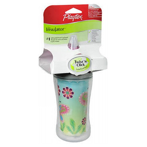 Playtex The Insulator Insulated Cup with Straw 9 oz by Playtex Playtex Insulator Straw Cup is insulated to keep drinks cool and fresh for a long period of time.Anti-sweat design protects furniture and diaper bags from moisture.The straw cup has a leak-proof straw bottle and its lid has grippers that can be used on any Playtex spill-proof cup.Babies can easily sip their drinks from this well-designed cup with its patented slide-open slide-closed straw.Soft handles make it easy to grip.