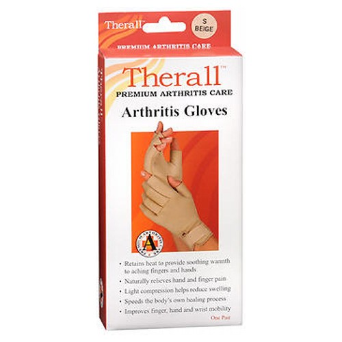 Therall Premium Arthritis Gloves Small 1 each by Therall These arthritis gloves provide light compression for comfortable support. The unique material retains the bodys natural heat to provide soothing, therapeutic warmth and long-lasting pain relief to aching wrists, fingers and hands. Soft lining wicks moisture away to keep hands dry. Ideal for arthritis, aching fingers, hands or wrists, overuse or repetitive use injuries, carpal tunnel syndrome and tendonitis. Retains body heat to provide soothing warmth to aching fingers and hands. Naturally relieves hand and finger pain associated with arthritis. Light compression helps reduce swelling, Promotes healing by increasing circulation around tender joints. Improves hand and wrist mobility and allows for faster return to daily activities. One pair.