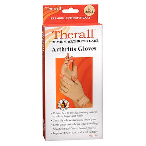 Therall Arthritis Gloves Medium 1 each by Therall These arthritis gloves provide light compression for comfortable support. The unique material retains the bodys natural heat to provide soothing, therapeutic warmth and long-lasting pain relief to aching wrists, fingers and hands. Soft lining wicks moisture away to keep hands dry. Ideal for arthritis, aching fingers, hands or wrists, overuse or repetitive use injuries, carpal tunnel syndrome and tendonitis. Retains body heat to provide soothing warmth to aching fingers and hands. Naturally relieves hand and finger pain associated with arthritis. Light compression helps reduce swelling, Promotes healing by increasing circulation around tender joints. Improves hand and wrist mobility and allows for faster return to daily activities. One pair.