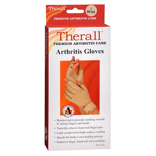 Therall Premium Arthritis Gloves Large Size 1 each by Therall These arthritis gloves provide light compression for comfortable support. The unique material retains the bodys natural heat to provide soothing, therapeutic warmth and long-lasting pain relief to aching wrists, fingers and hands. Soft lining wicks moisture away to keep hands dry. Ideal for arthritis, aching fingers, hands or wrists, overuse or repetitive use injuries, carpal tunnel syndrome and tendonitis. Retains body heat to provide soothing warmth to aching fingers and hands. Naturally relieves hand and finger pain associated with arthritis. Light compression helps reduce swelling, Promotes healing by increasing circulation around tender joints. Improves hand and wrist mobility and allows for faster return to daily activities. One pair.
