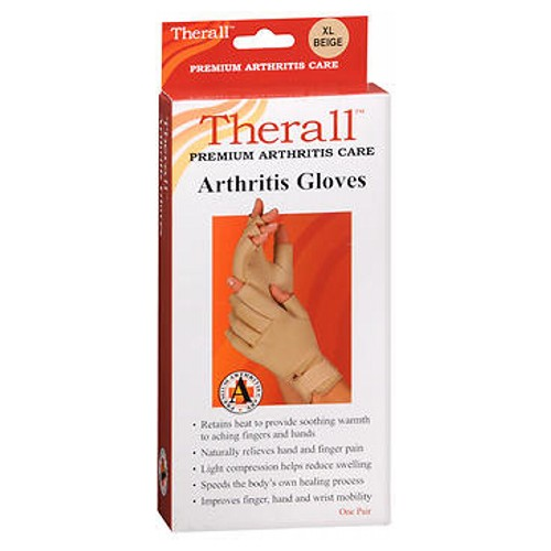 Therall Arthritis Gloves X-Large 1 each by Therall These arthritis gloves provide light compression for comfortable support. The unique material retains the bodys natural heat to provide soothing, therapeutic warmth and long-lasting pain relief to aching wrists, fingers and hands. Soft lining wicks moisture away to keep hands dry. Ideal for arthritis, aching fingers, hands or wrists, overuse or repetitive use injuries, carpal tunnel syndrome and tendonitis. Retains body heat to provide soothing warmth to aching fingers and hands. Naturally relieves hand and finger pain associated with arthritis. Light compression helps reduce swelling, Promotes healing by increasing circulation around tender joints. Improves hand and wrist mobility and allows for faster return to daily activities. One pair.