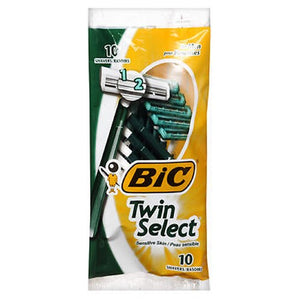 Bic Twin Select Shavers For Men Sensitive Skin - 10 each