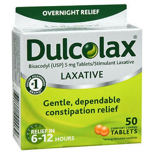Dulcolax Laxative Tablets 50 tabs by Dulcolax For temporary relief of occasional constipation and irregularity. This product generally produces bowel movement in 6 to 12 hours. Easy-to-swallow, comfort coated tablets are gentle enough for sensitive stomachs, yet strong enough for effective overnight relief. Relieves constipation in 6 to 12 hours. #1 doctor recommended brand*. *Among stimulant laxatives.