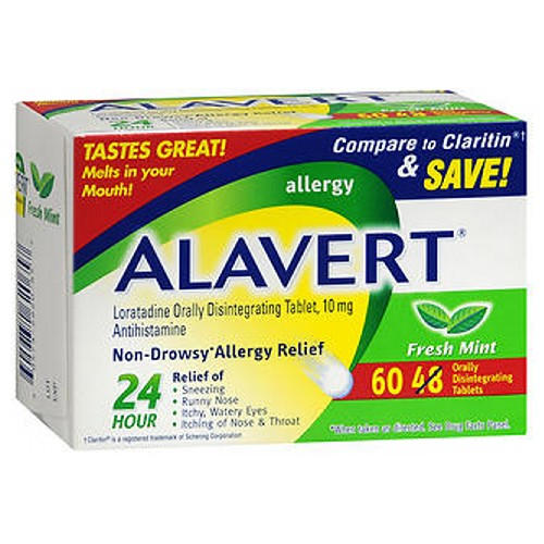 Alavert 24 Hour Orally Disintegrating Tablets Fresh Mint 60 tabs by Alavert Non-Drowsy* Allergy Relief* Relief of: Sneezing* Runny Nose* Itchy, Watery Eyes* Itching of Nose  Throat* Loratadine Orally Disintegrating Tablet, 10 mg Antihistamine