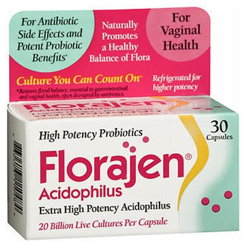 Florajen Acidophilus 30 caps by Florajen For antibiotic side effects.* Promotes a healthy balance of vaginal flora naturally. Refrigerated for higher potency. Extra high potency acidophilus. 1 capsule = 10+ cups yogurt. Gluten and dairy free. Does not contain yeast, sugar, soy, eggs, corn, wheat, gluten, coloring or preservatives. Statements on this package have not been evaluated by the Food and Drug Administration. This product is not intended to diagnose, treat, cure or prevent any disease. *Restores floral balance, essential to GI and vaginal health, often disrupted by antibiotics.