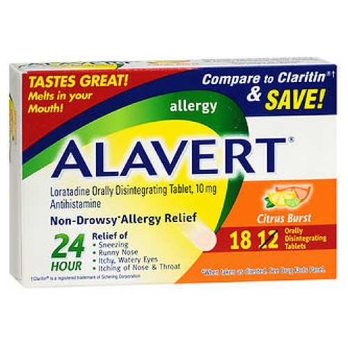 Alavert 24 Hour Orally Disintegrating Tablets Citrus Burst 18 tabs by Alavert Non-Drowsy* Allergy Relief* Relief of: Sneezing* Runny Nose* Itchy, Watery Eyes* Itching of Nose  Throat* Loratadine Orally Disintegrating Tablet, 10 mg Antihistamine
