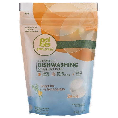 Automatic Dishwashing Detergent Tangerine with Lemongrass 24 loads(case of 6) by Grab Green 24 LoadsChlorine FreeCleansLeaves Zero SpotsNaturally-Derived IngredientsNon-ToxicPhosphate FreeRemoves Greasy Stuff