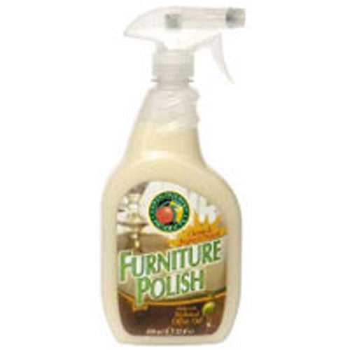 100% Natural Furniture Polish 22 oz(case of 6) by Earth Friendly This Furniture Polish is made from natural olive and orange oils. It cleans and beautifies wood, formica, particle board and vinyl surfaces.