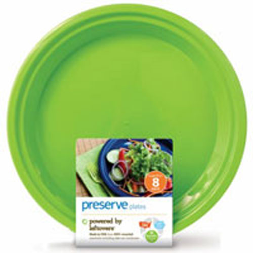 Reusable Plastic Plates Large Apple Green 8 CT by Preserve BPA FreeMade in USA from 100% Recycled Material Including take-out containers Nothing Wasted, Everything Gained.One day a Take-Out Container, the next day a Plate. Powered by Left oversReusable Dishwasher Safe