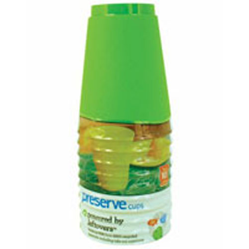 Reusable Palstic Cups Apple Green 10 CT by Preserve 100% Recycled Plastic BPA FreeMade in USA from 100% Recycled Materials Including Take-Out ContainersNothing Wasted Everything GainedOne day a take-out Container, the next day a CupPowered by LeftoversReusable - Dishwasher Safe