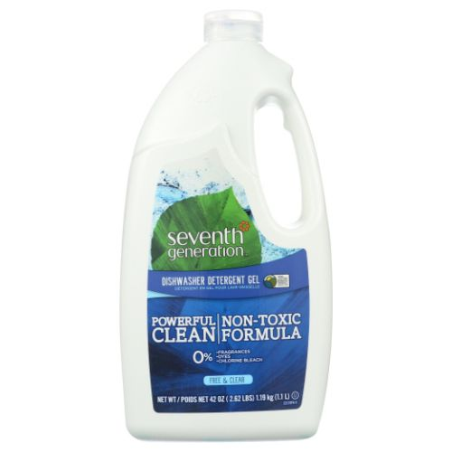 Automatic Dishwasher Gel Free and Clear, 42 OZ by Seventh Generation Chlorine FreeEffectiveFree of Dyes & FragrancesGets Dishes Sparkling CleanNon-ToxicSafe