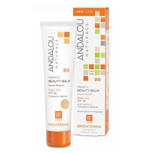 Vitamin C BB Beauty Balm Sheer Tint SPF 30 2 Oz by Andalou Naturals Fruit stem cell complex and vitamin C are the stars of this multi-benefit balm providing broad spectrum protection with a natural, sheer mineral tint for flawless coverage in one easy step.