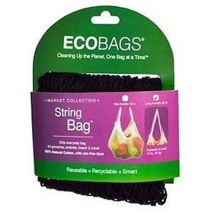 Organic String Bag - Long Handle Black