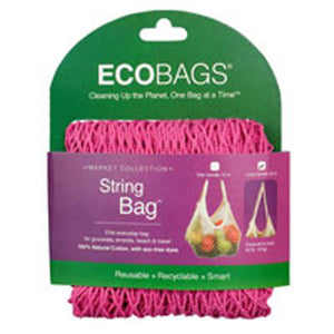 String Bag Long Handle - Natural Cotton Raspberry 1 BAG