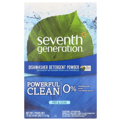 Automatic Dishwasher Powder Free and Clear 75 oz(case of 4) by Seventh Generation Biodegradable FormulaCaring Today for Seven Generations of Tomorrows. Chlorine-Free FormulaRemoves Stuck-On FoodRinses Clean USDA Certified Biobased Product