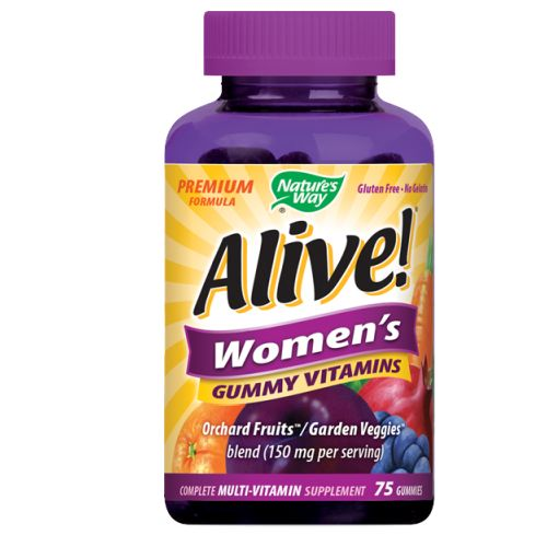 Alive! Women's Gummy Vitamins 75 GUMMIES by Nature's Way Premium Formula No Gelatin Gluten Free Multi-Vitamin Multi-Mineral Supplement Full B-Complex Bone + Breast Support*