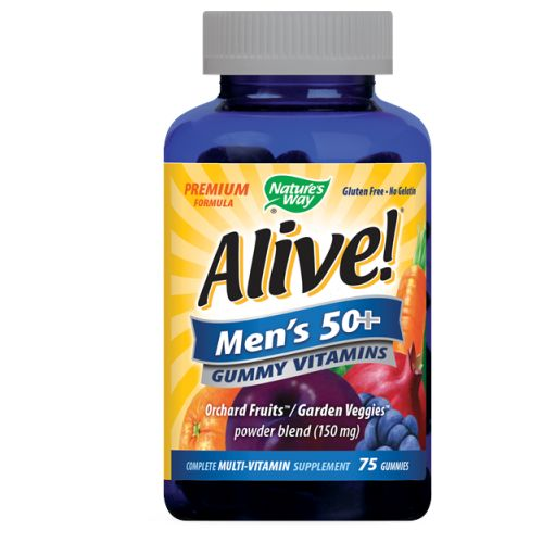 Alive! Men's 50 Plus Gummy Vitamins 75 GUMMIES by Nature's Way Premium Formula No Gelatin Gluten Free Multi-Vitamin Multi-Mineral Supplement Full B-Complex Energy + Prostate Support*