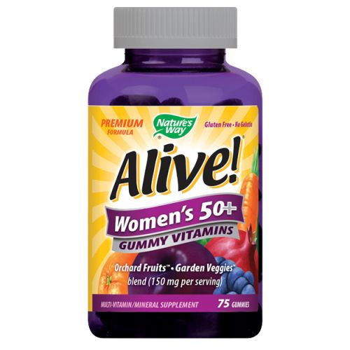 Alive! Women's 50 Plus Gummy Vitamins 75 GUMMIES by Nature's Way Women?s 50+ Premium Gummies is a multi-vitamin specifically balanced for women age 50+. It is gluten and gelatin-free (made with pectin) and is sweetened with tapioca syrup and cane sugar. It helps support: heart, bone, energy conversion, immune, & eyes.*.A full B-vitamin complex to help convert food into energy*High potency vitamin B12, vitamin DCalcium, phosphorus, and luteinNo synthetic flavors or preservativesOrchard Fruits & Garden Veggies powder blend (150 mg per serving) Premium Formula No Gelatin Gluten Free Multi-Vitamin Multi-Mineral Supplement Full B-Complex Bone + Breast Support*