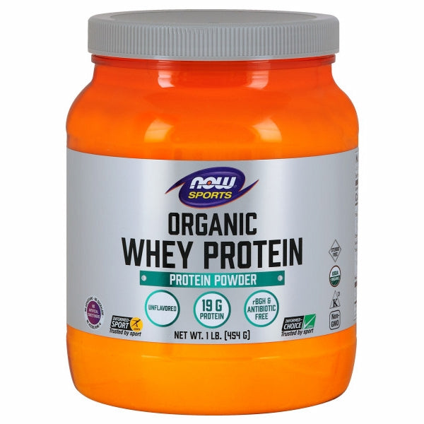 Organic Whey Protein Natural Unflavored 1 LB by Now Foods