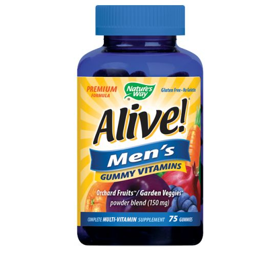 Alive! Men's Gummy Multi Vitamin 75 ct by Nature's Way Complete Multi-Vitamin Supplement Premium Formula Orchard Fruits/Garden Veggies