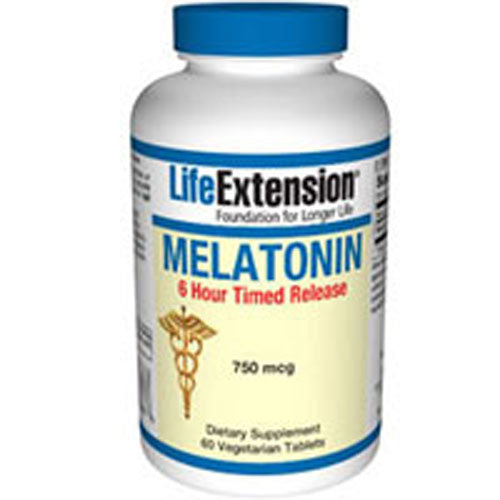Melatonin 6 Hour Timed Release 60 vegetarian tablets by Life Extension Dietary Supplement750 mcg