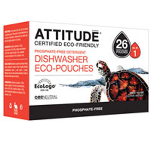 Dishwasher Detergent Eco Pouches 26 Pouch by Attitude Phosphate-Free DetergentCertified EcoLogoCo2Neutral