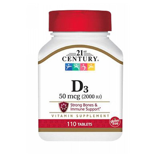 21st Century Vitamin D3 110 tabs by 21st Century Vitamin D is essential for absorption of calcium and necessary support for healthy bones and a healthy immune system.* Gluten free. Unconditionally guaranteed for purity, freshness and label potency. No added sugar, salt, yeast, artificial flavors, colors or preservatives. Easy-to-swallow smaller tablet. *This statement has not been evaluated by the Food and Drug Administration. This product is not intended to diagnose, treat, cure, or prevent any disease.