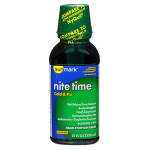 Sunmark Nite Time Cold Flu Liquid - 12 oz